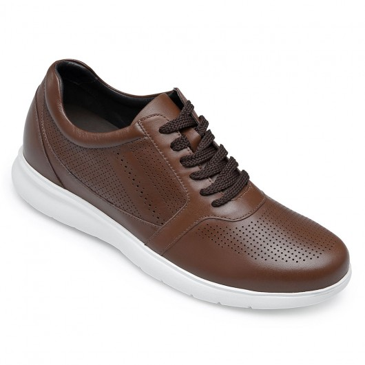 CHAMARIPA elevator shoes for men brown leather shoes that make you taller height raising shoes 6CM/2.36 Inches taller