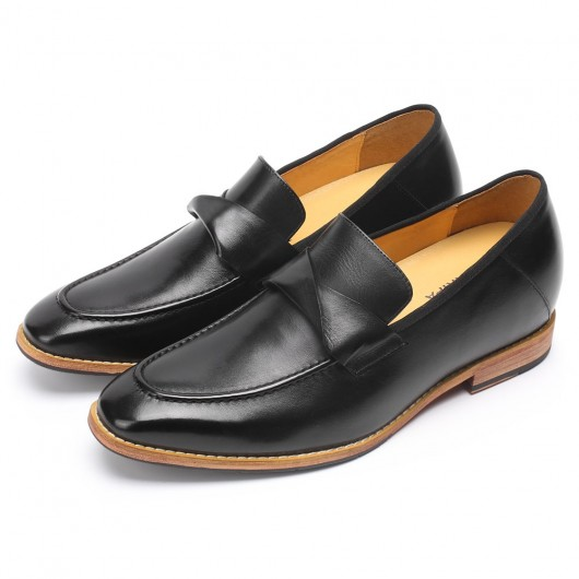 CHAMARIPA men's height increasing elevator loafer black hand-burnished leather penny loafer 7CM/2.76 Inches