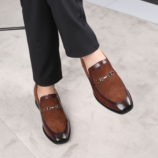 CHAMARIPA elevator shoes for men height raising shoes brown suede loafers men 6CM/2.36 Inches taller