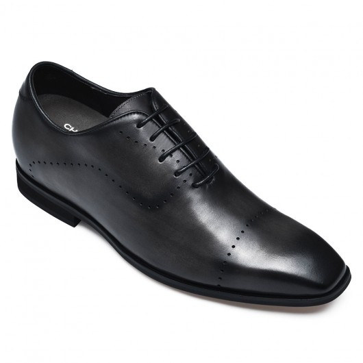 CHAMARIPA dress elevator shoes for men extra heightening shoes men gray leather oxfords 7CM/2.76 inches taller