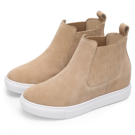 Chamaripa hidden wedge sneakers - wedge sneaker boots Beige- Custom Shoes - 7CM / 2.76 Inches