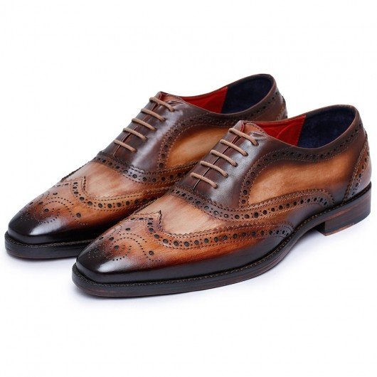 CHAMARIPA Men's Elevator Shoes - Handcrafted Wingtip Brogue Oxford - Brown 7 CM /2.76 Inches