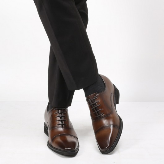 CHAMARIPA height increasing elevator shoes for men high heel men dress shoes brogue oxford in brown 8CM / 3.15 Inches
