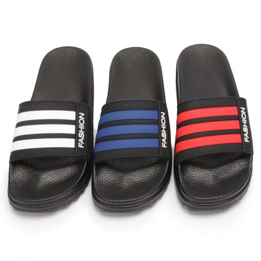 CHAMARIPA men's platform slippers height increasing slippers black non slip indoor outdoor sandals 4CM / 1.57 Inches taller