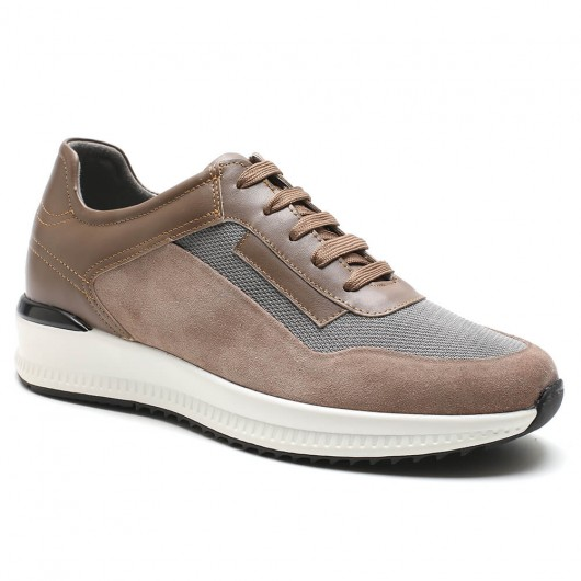 casual elevator shoes casual shoes for short men shoes to become taller Grey &Khaki  6 CM /2.36 Inches