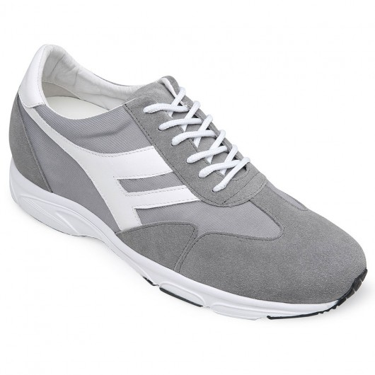 CHAMARIPA increasing shoes for short men grey suede elevator sneakers shoes 8CM / 3.15 Inches taller
