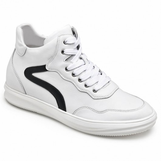 CHAMARIPA elevator sneakers for men high cut casual hidden heel shoes white calfskin leather 6CM / 2.36 Inches