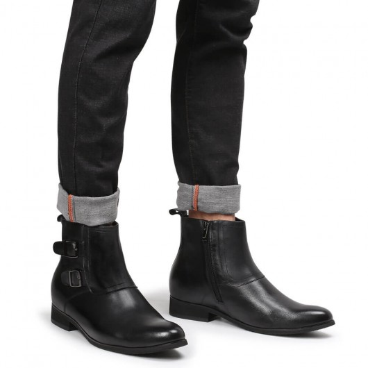 Chamaripa height increasing boots hidden high heel boots for men black leather dress boots with zipper 7CM / 2.76 Inches