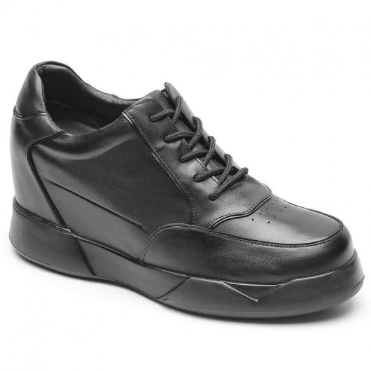 CHAMARIPA casual invisible height increasing shoes for men black leather tall men shoes 10CM / 3.94 Inches
