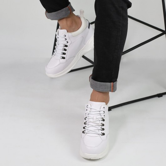 CHAMARIPA height increase shoes men elevator sneakers shoes white leather shoes 10CM / 3.94 Inches
