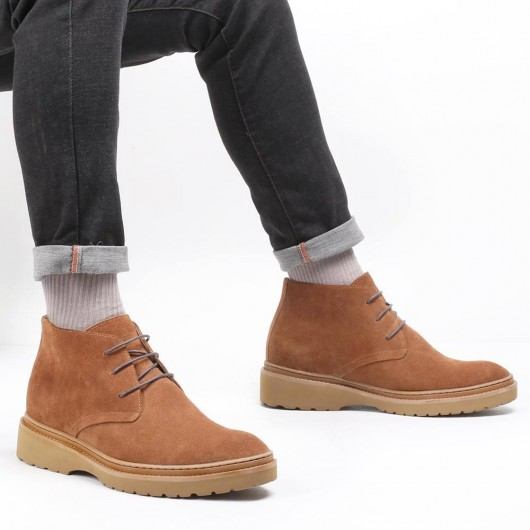 CHAMARIPA men's elevator shoes suede leather chukka boot brown lace up casual shoes 7CM / 2.76 Inches