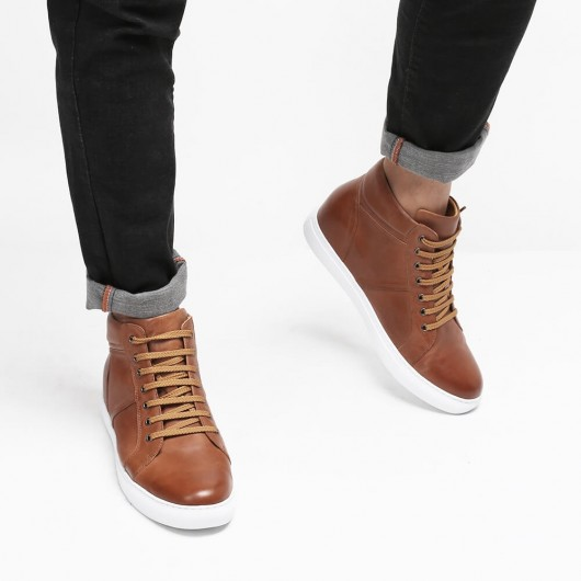 CHAMARIPA elevator shoes for men high top hidden heel casual shoes men brown leather 6CM / 2.36 Inches