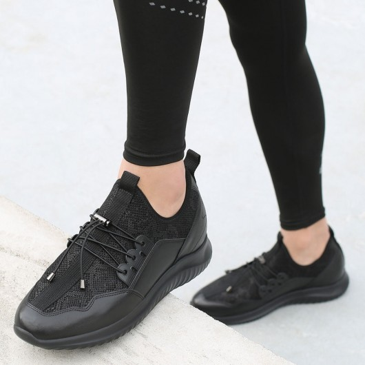CHAMARIPA running elevator shoes athletic lift shoes black sneakers 7CM / 2.76 Inches taller