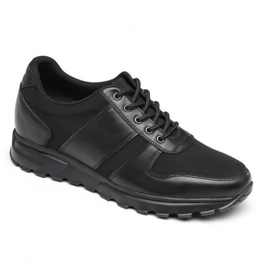 CHAMARIPA elevated sports shoes men's high heel casual shoes black leather 7CM /2.76 Inches