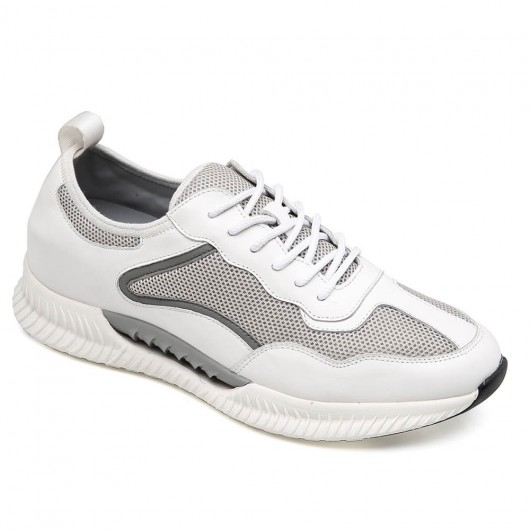 CHAMARIPA white height increasing sneaker casual hidden heel shoes breathable shoes 7CM / 2.76 Inches
