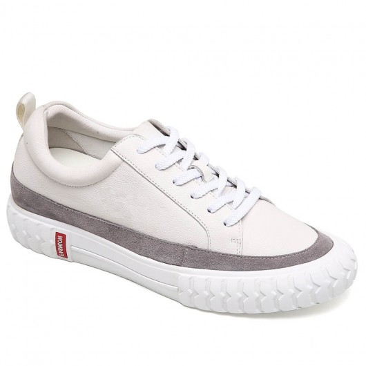 CHAMARIPA height increasing elevator shoes white leather casual shoes get taller 6CM / 2.36 Inches