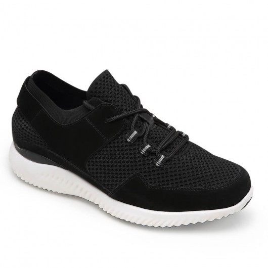 CHAMARIPA hidden heel trainers for men knit elevator sneaker with leather detail black breathable lace up shoes 7CM  /2.76 Inches
