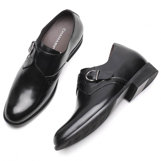 Chamaripa height increasing shoes for men black leather Monk-Strap Loafers Add Height 7CM /2.76 Inches