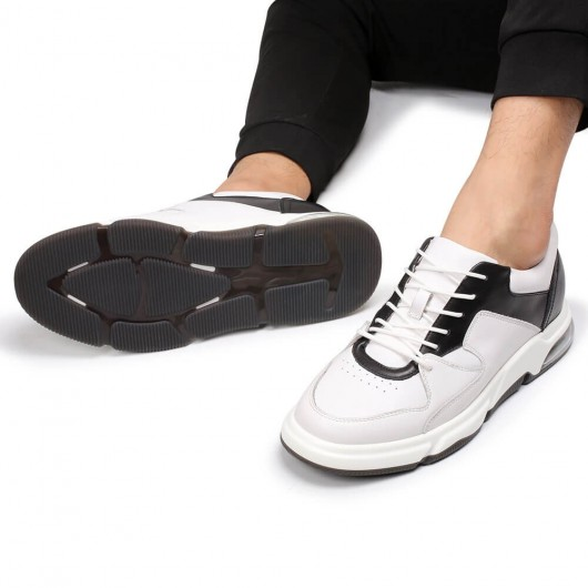 CHAMARIPA height increasing sneakers for men white leather sneakers to get taller 6CM / 2.36 Inches