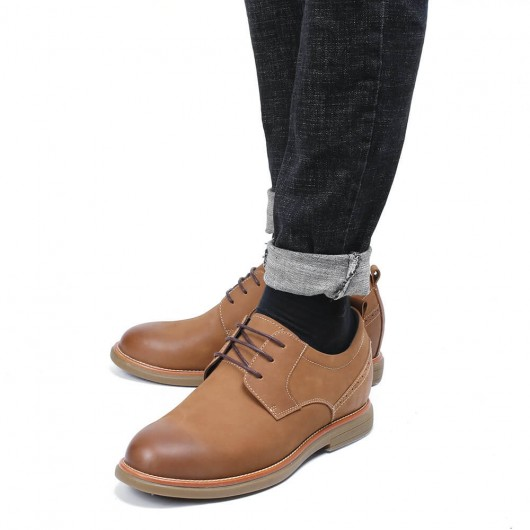 CHAMARIPA businessman elevator shoes brown leather casual shoes 6CM / 2.36 Inches