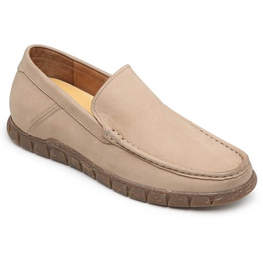 CHAMARIPA slip on height increasing shoes camel casual elevator shoes for men 6CM / 2.36 Inches