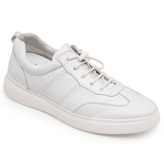 CHAMARIPA casual taller shoes for men white leather high heel shoes 6CM / 2.36 Inches