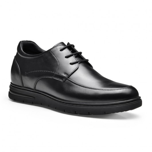 Chamaripa hidden high heel shoes for men black leather business casual elevator shoes lace up men taller shoes 7CM/2.76 Inches