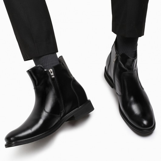CHAMARIPA elevator boots for men chelsea boots with hidden high heels black leather boots 7CM / 2.76 Inches