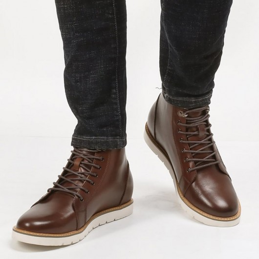 CHAMARIPA height increasing elevator boots brown leather boots that make you taller 7CM / 2.76 Inches