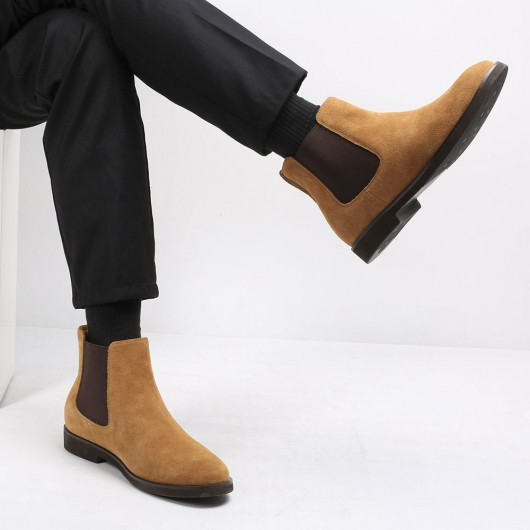 CHAMARIPA men's elevator boots brown suede leather Chelsea boots to look taller 6CM / 2.36 Inches