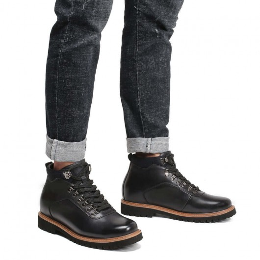 CHAMARIPA men's height increasing boots black leather lace up boots 8CM / 3.15 Inches