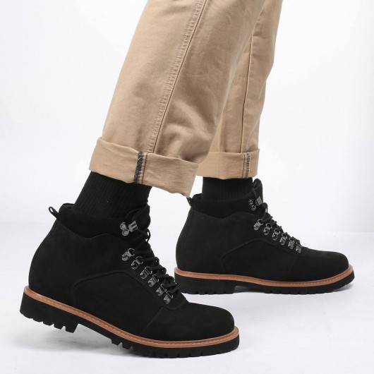 CHAMARIPA tall men boots elevator boots black nubuck leather water resistant boots 8CM / 3.15 Inches