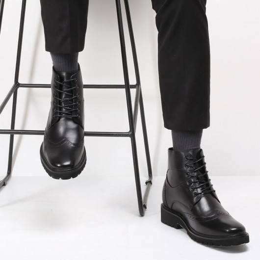 CHAMARIPA men's dress elevator boots black leather wingtip boots for men 7CM / 2.76 Inches