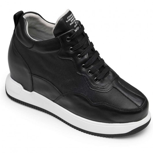 CHAMARIPA casual height increasing elevator shoes black leather casual shoes for men 11CM / 4.33 Inch