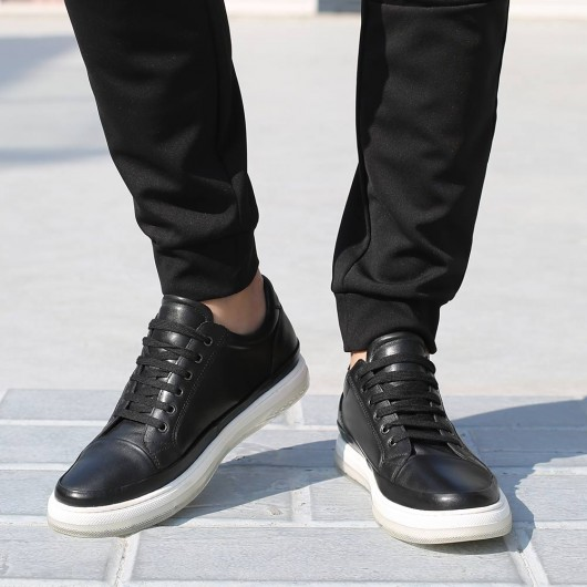 CHAMARIPA casual elevator shoes for men height increasing shoes black leather sneakers shoes 5CM / 1.95 Inches taller