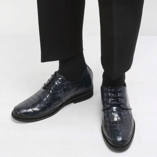 CHAMARIPA men's formal elevator shoes pattern leather dress shoes in black that make you 8CM / 3.15 Inches taller