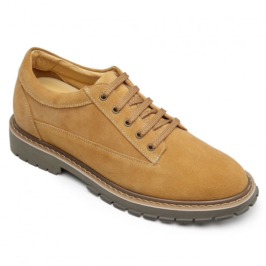 CHAMARIPA casual elevator shoes for men height increasing shoes brown suede casual shoes men 7 CM/2.76 inches taller