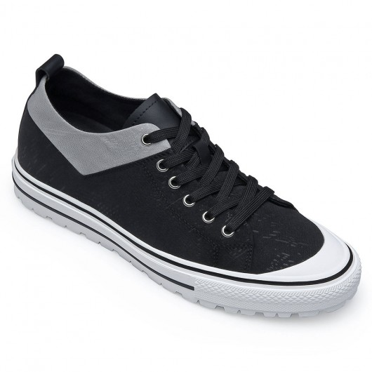 CHAMARIPA elevator shoes for men casual height shoes black canvas shoes 6CM / 2.36 Inches taller