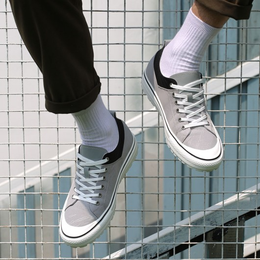 CHAMARIPA elevator shoes for men casual height shoes gray canvas shoes 6CM / 2.36 Inches taller