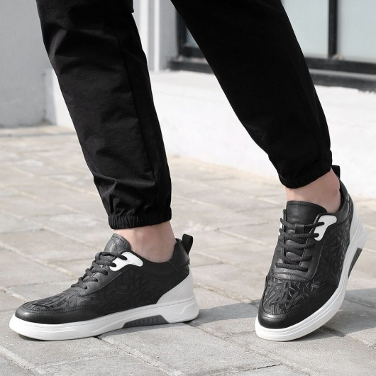 CHAMARIPA height increasing shoes for men black leather elevator sneaker shoes 6 CM / 2.36 Inches taller