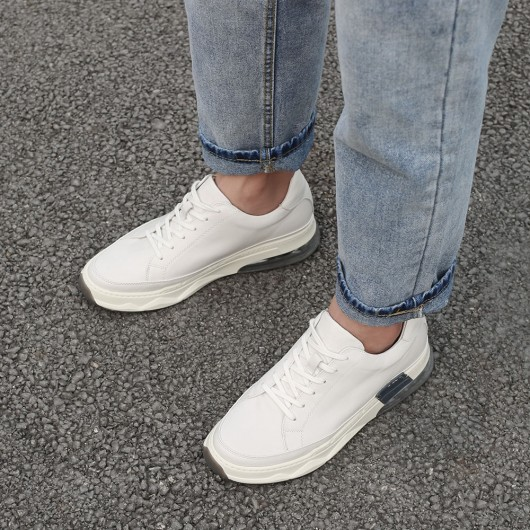 CHAMARIPA hidden heel trainers for men white leather shoes for short men cushion sneakers 8CM/3.15 Inches taller