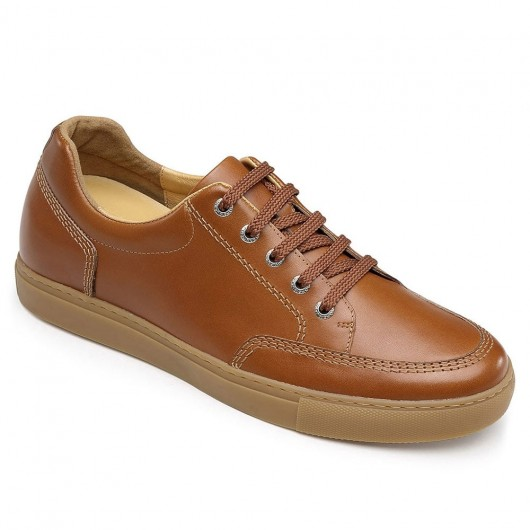 CHAMARIPA Men's Height Increasing Shoes Hidden Heel Sneakers Brown Leather Casual Shoes 6CM / 2.36 Inches Taller