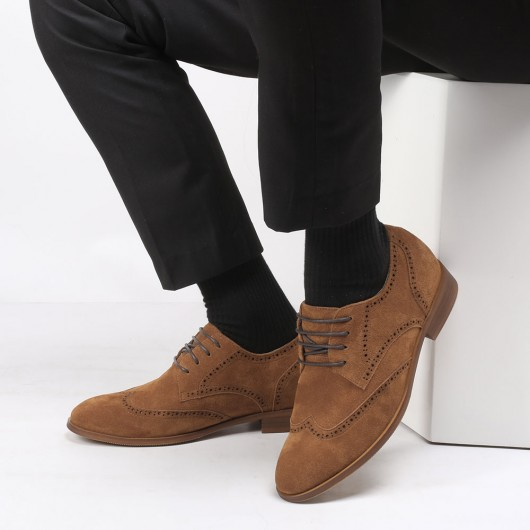 CHAMARIPA tall men shoes height increasing elevator shoes brown suede wing tip brogues 7CM /2.76 Inches
