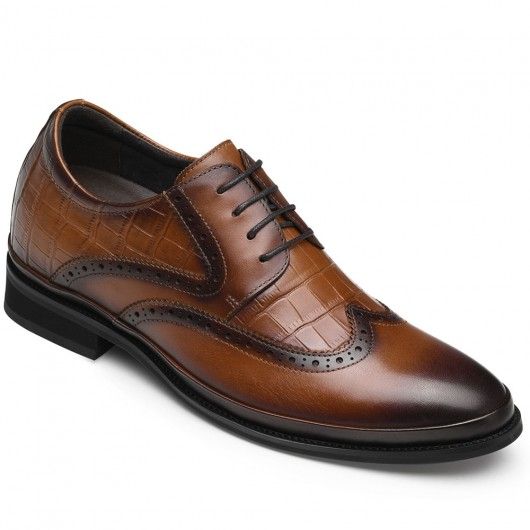 CHAMARIPA men's dress elevator shoes brown leather brogue shoes that make you taller 7CM / 2.76 Inches