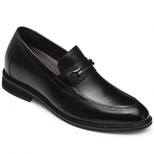 CHAMARIPA elevator shoes for men black leather add height loafers shoes 8CM / 3.15 Inches