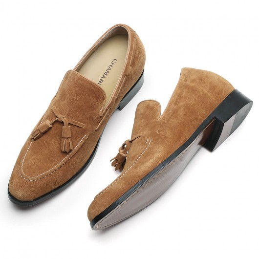 Chamaripa elevator shoes for men smart suede tassel loafers height increasing slip on shoes apricot Moccasins 7CM / 2.76 Inches