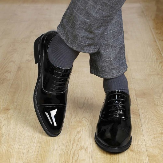 CHAMARIPA dress elevator shoes tall men shoes black patent leather oxfords 8CM / 3.15 Inches