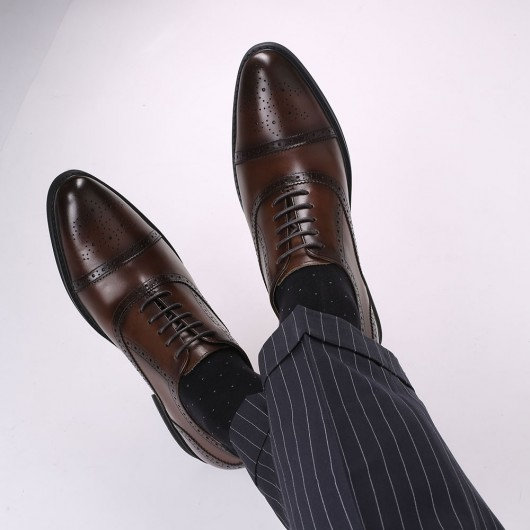 CHAMARIPA dress elevator shoes for men brown leather height shoes 8CM / 3.15 Inches taller