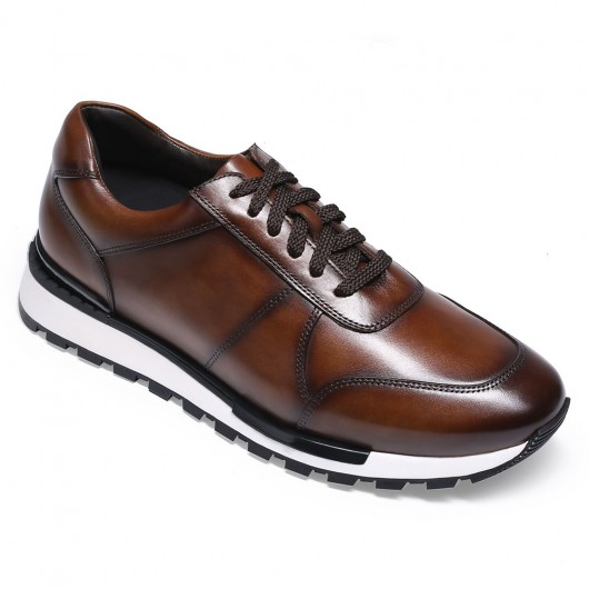 CHAMARIPA casual elevator shoes for men - leather hand painted casual shoes - burgundy - 6 CM/2.36 inches taller