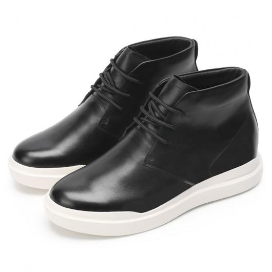 CHAMARIPA elevator sneaker for short men black leather chukka sneaker add 8CM/3.15 Inches height